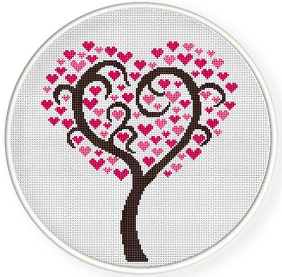 Download immediato, gratuito shippingCounted schemi punto croce, Cross-Stitch pdf, il mio albero vita piena di amore, Albero di amore, San Valentino, zxxc0455