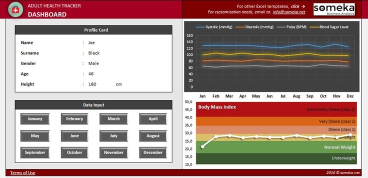 Health Tracker - Excel Template: Adult people are eager to measure and track their health very frequently. Using papers, notes, some text files which are easy to get lost, is not a good idea.  #excel #template #health #tracker #spreadsheet #personal #systolic #BMI #diastolic #pulse #blood #sugar #level #charts #printable