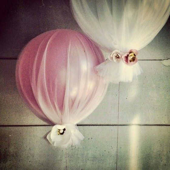 Baby Dedication/Baptism Party: Pink and White Tulle Covered Balloons Decor