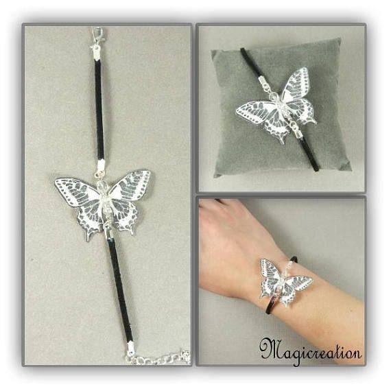 bracelet papillon soie blanc et argenté sur cordon de suédine