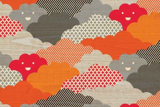 Cloud wallpaper orange / grey by Little Schatzi