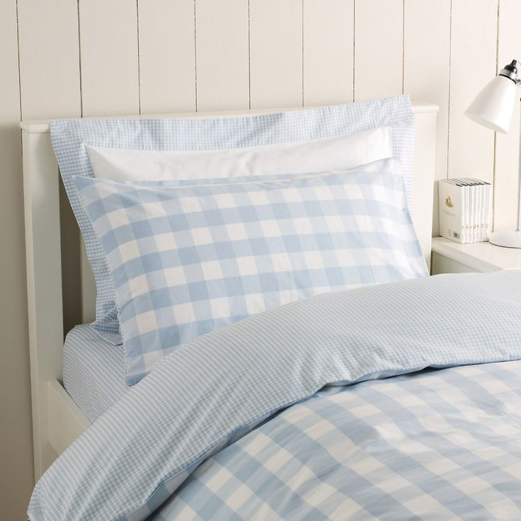 reversible gingham duvet cover.  also in pink.  great kids bedding and sheets at this site
