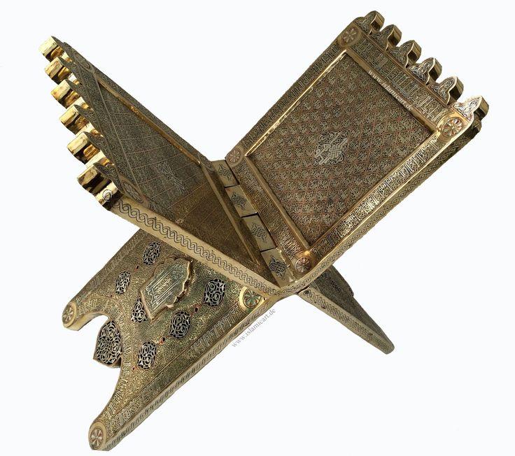Giant Islamic Quran Stand Silver Inlay Kufic Arabic Masterpiece Allah's 99 Names, Asmāʾ Allāh Al-Husnā  'The 99 Names Of Allah Sub 'ana'thallah