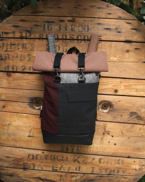 Gray and burgundy upcycled roll top rucksack made from canvas and wool textiles using a mens' suit as a front pocket, by 'eating the goober'