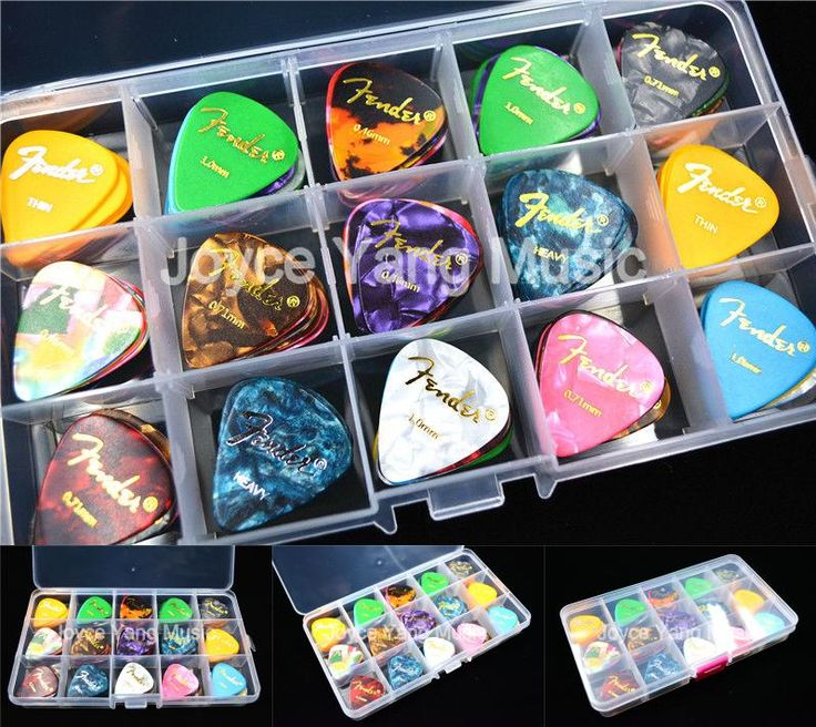 [Visit to Buy] 100pcs Pearl Celluloid Acoustic Electric Guitar Picks Plectrums+1 Large Plastic Picks Holder Case Box Free Shipping #Advertisement