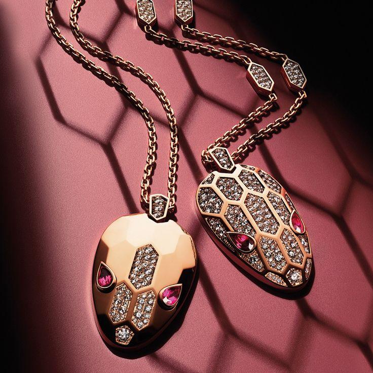 Bulgari Serpenti Seduttori diamond, rubellite and gold pendants.
