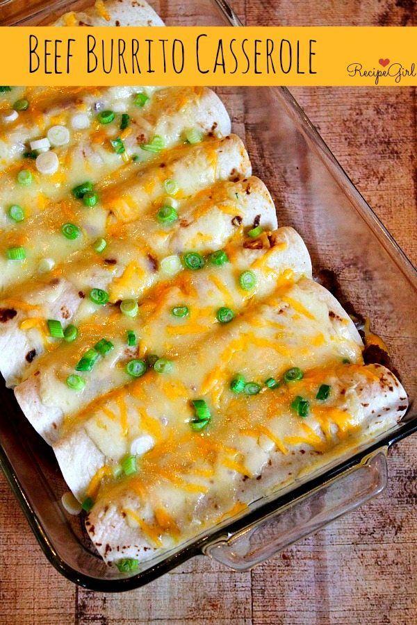 Easy Beef Burrito Casserole recipe by RecipeGirl.com