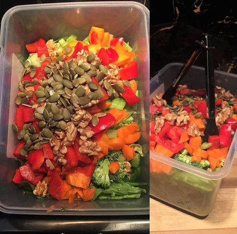 Bulk Salad - chocka with fresh veggies, walnuts & sunflower seeds. Just add a protein source and olive oil based dressing and lunch is sorted