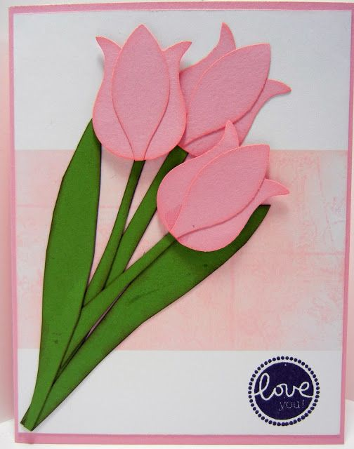 Tulips from Stampin Up Owl Punch and from Build a Blossom Punch