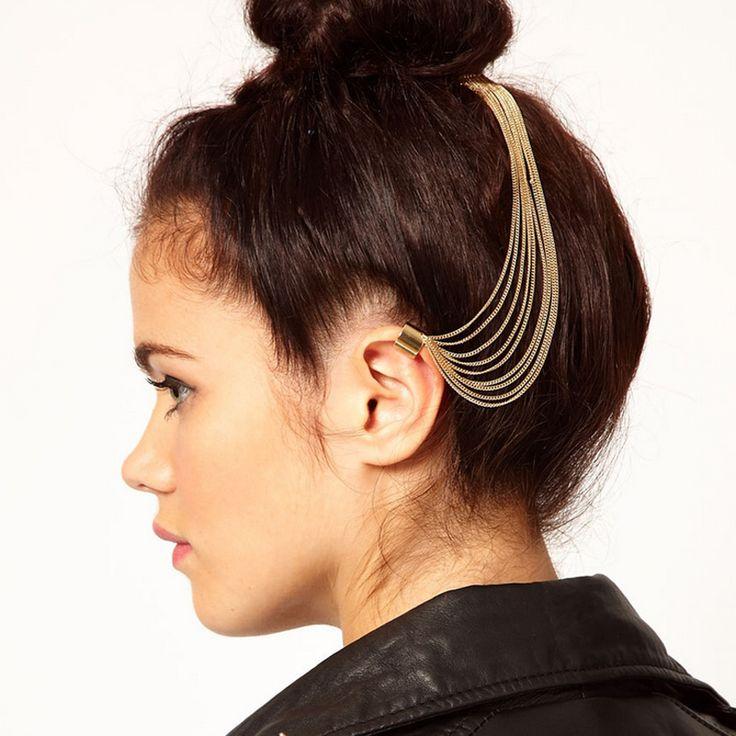 2016 новое поступление девушка готический рок с кисточкой цепи штырь волос гребень ушной хрящ позолоченные клип нет пирсинг купить на AliExpress