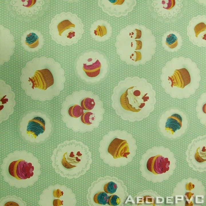 PVC Cupcakes Oilcloth/Vinyl Tablecloth Wipe Easy 140CM Wide