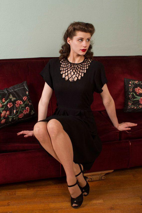 1940s Vintage Dress - Gorgeous Black Rayon Crepe 40s Cocktail Dress with Lattice Cutwork Sequined Décolletage