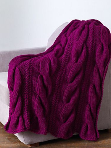 lion brand pattern for chunky cabled throw. Adding to my to-knit list!