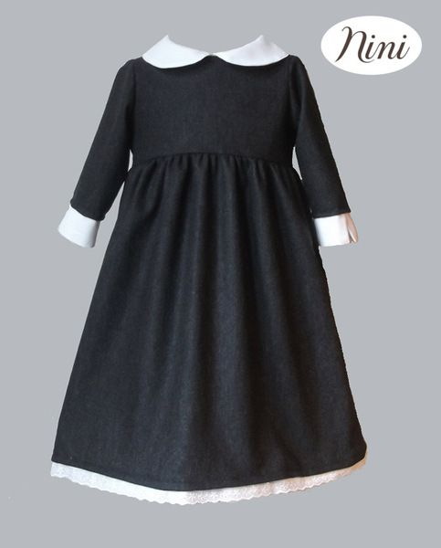 Very elegant wool dress with broderie anglaise lace
