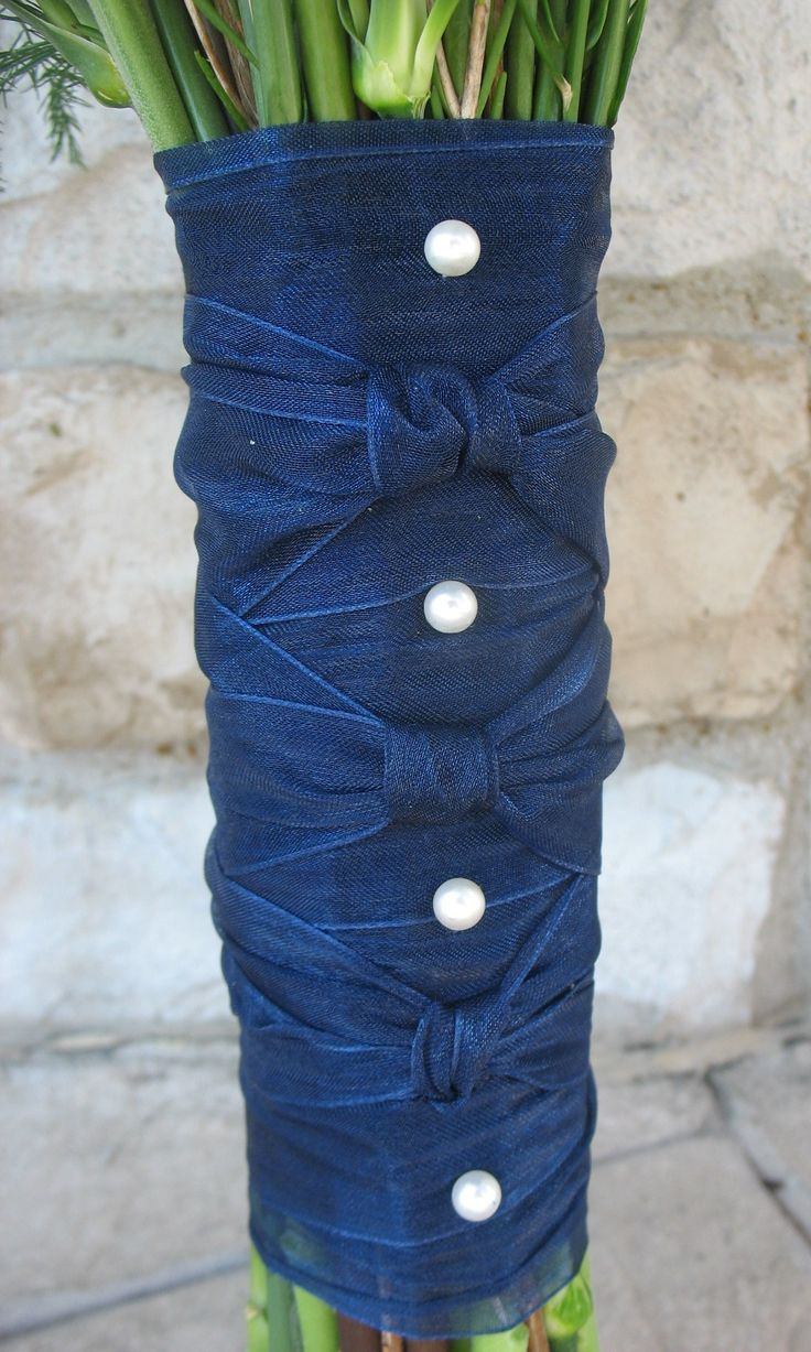 Navy blue sheer ribbon with white pearls | Bridal Bouquet ...