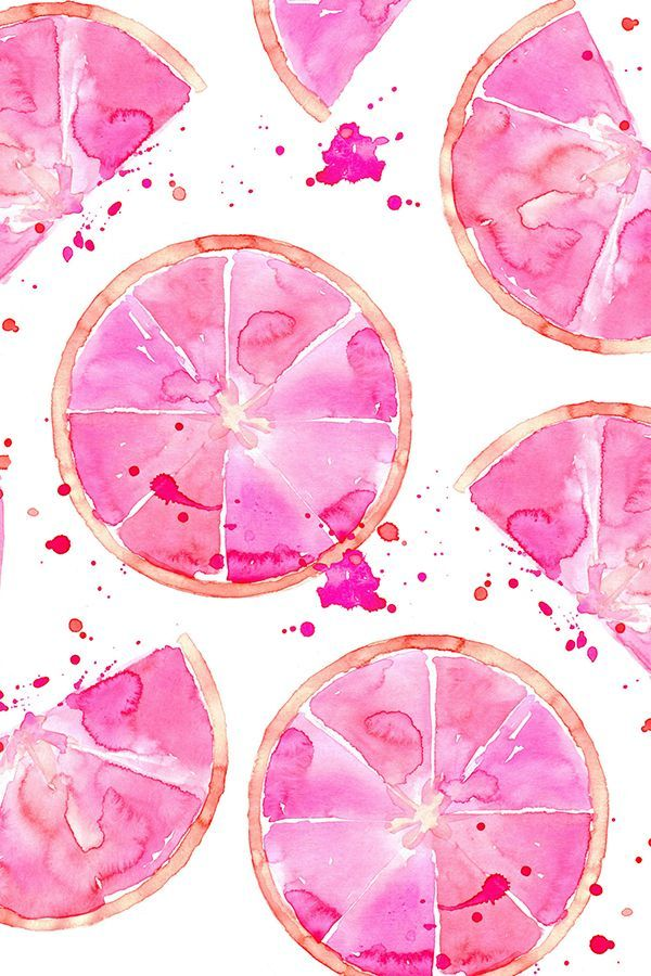 Hand painted watercolor pink grapefruit design by erinanne. Bold pink watercolor splatters and fruit on fabric, wallpaper, and gift wrap.