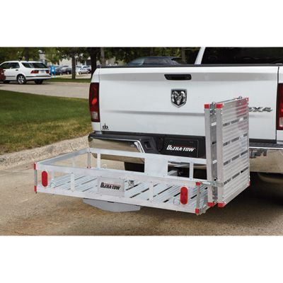 Ultra-Tow aluminum cargo carrier platform provides extra cargo space on the exterior of your vehicle with a 49in.L x 26in.W drop-down ramp that makes it ideal for loading wheelchairs, wheeled scooters, bikes and more.