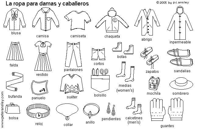 La Ropa Spanish Coloring Worksheets