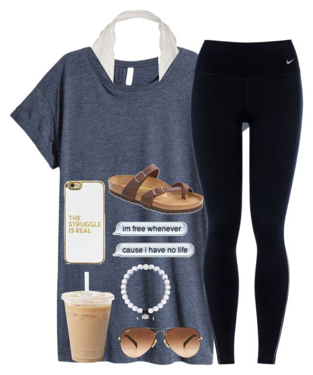 """ Can't blame a girl for tryin"" by simplylovelyruru ❤ liked on Polyvore featuring H&M, NIKE, Ray-Ban, Birkenstock and BaubleBar"
