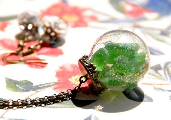 Collana color bronzo Spiaggia Positano (Italia)  in palla di vetro, orecchini in omaggio