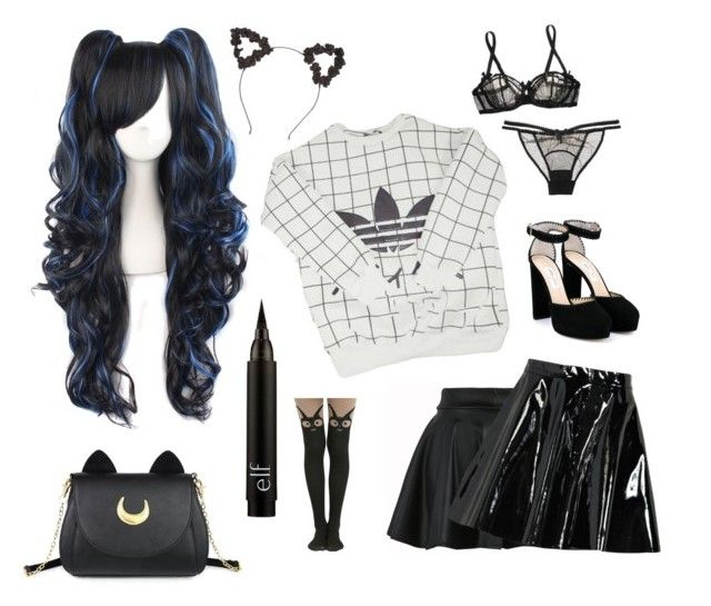 """ddlg"" by alcaddict ❤ liked on Polyvore featuring adidas, Usagi, Studio Ghibli, Jimmy Choo, L'Agent By Agent Provocateur and Boohoo"