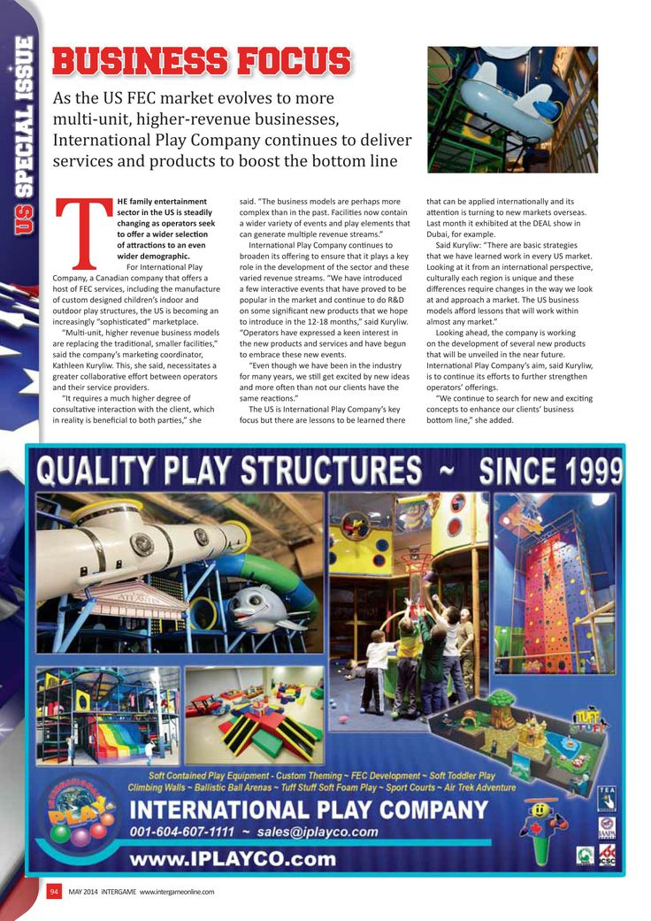 International Play Company in the #InterGame #US April 2014 edition. Special Issue - Business Focus   `   #FEC #Family #Entertainment #softplay #playground #equipment #structures #USmarket