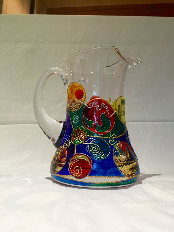 Fun, vibrant, colourful, hand painted glass jug / pitcher