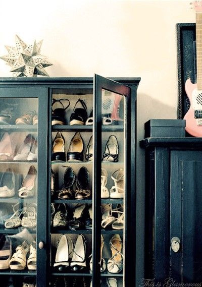 Shoe closet out of old cabinet.