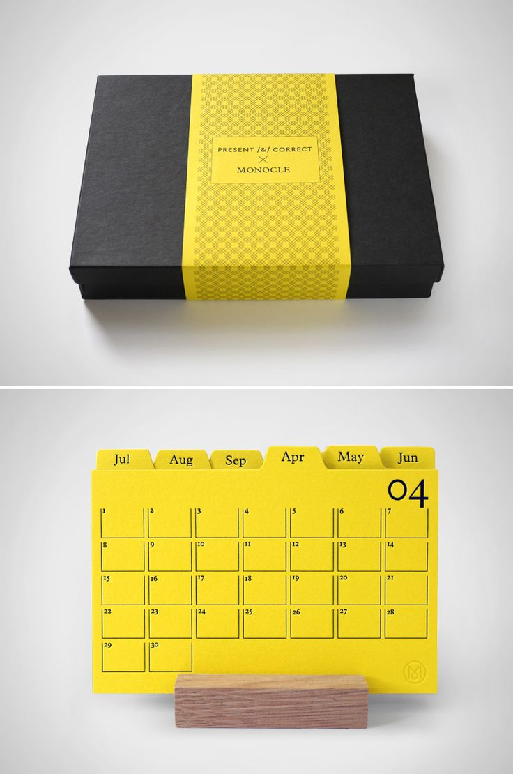 Present & Correct x MONOCLE. Letterpress index calendar on duplexed yellow/grey. Oak stand, pretty box.