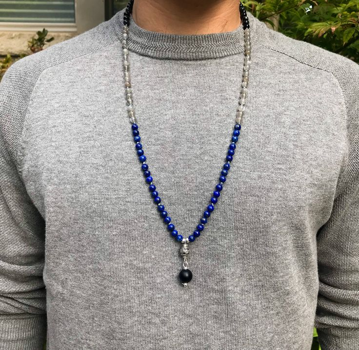 Mens Lapis Lazuli, Grey Moonstone and Blue Tiger Eye 108 Mala Beads /  Mens Knotted Mala / Meditation Gifts / Knotted Buddhist Necklace by SharonweinDesigns on Etsy