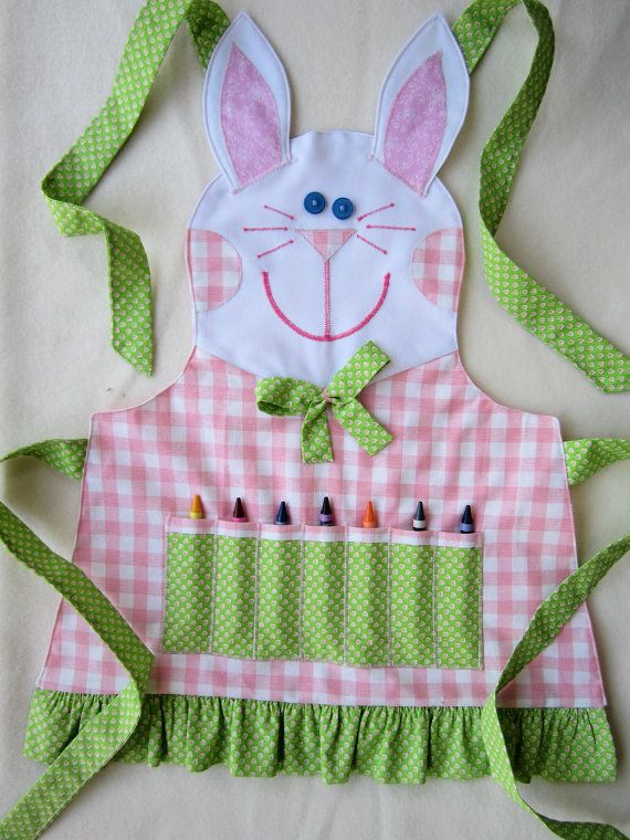 Kids Apron PUPPY Crayon Craft Apron Cooking Apron by KiddieKOVE