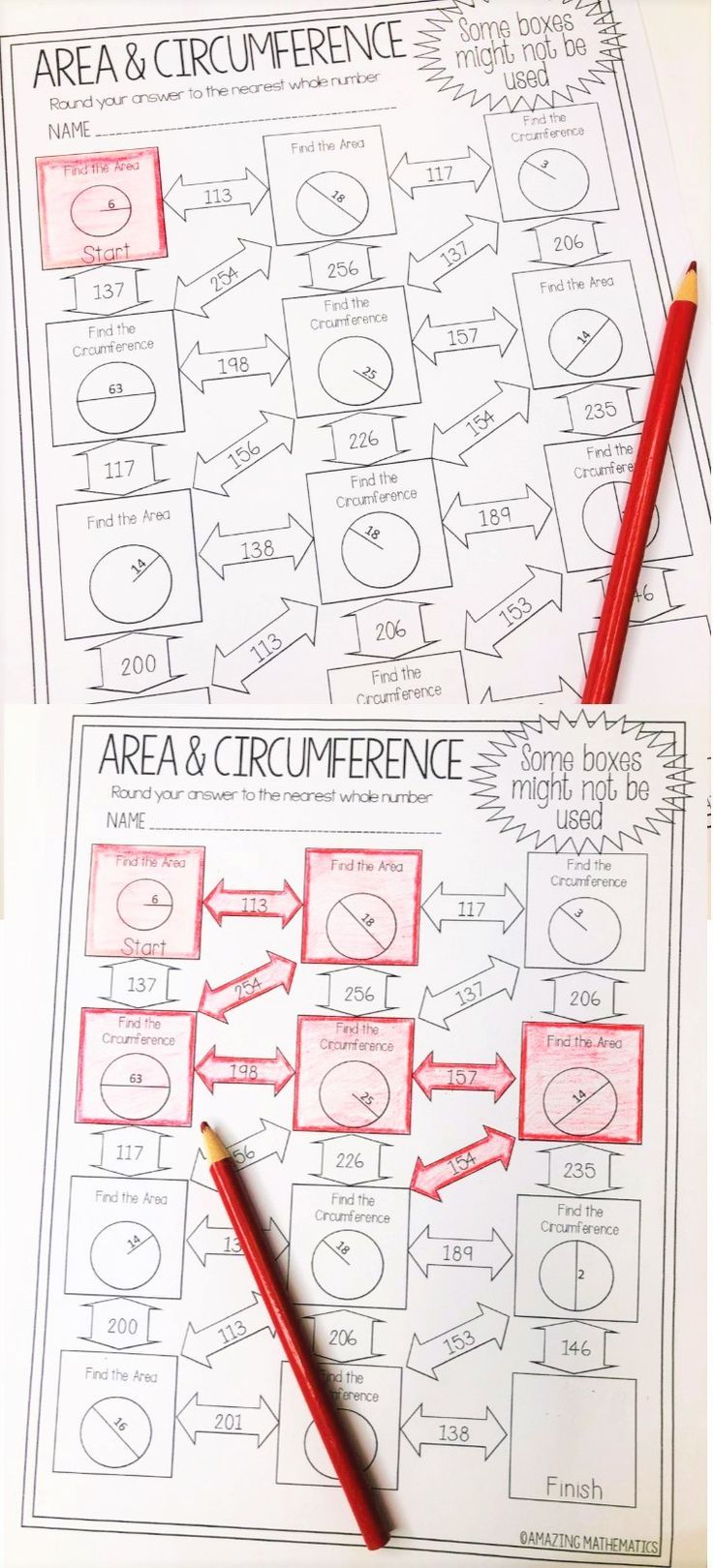 Area And Circumference Of Circles Worksheet Maze Activity Geometry Worksheets Maze Worksheet 7th Grade Math Worksheets [ 1619 x 736 Pixel ]