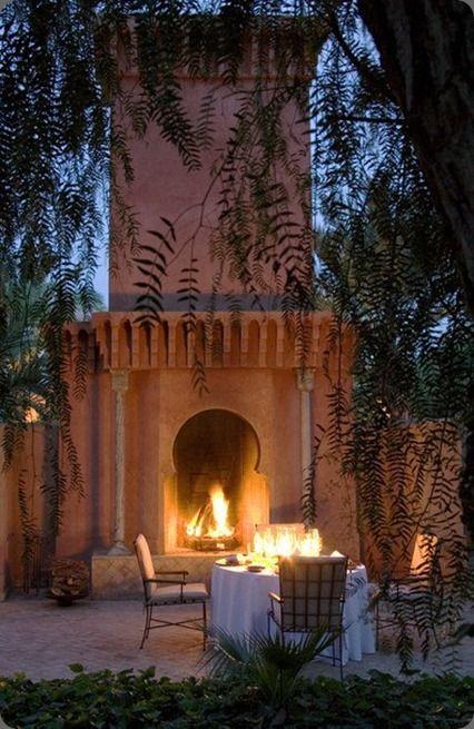 Dinner by the fire's light