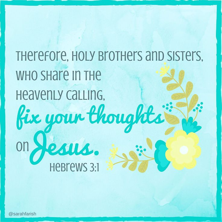 Therefore, holy brothers and sisters, who share in the heavenly calling, fix your thoughts on Jesus, whom we acknowledge as our apostle and high priest. Hebrews 3:1  (February 13, Lent 2016)  #lent #hebrews #verseoftheday #inspirational