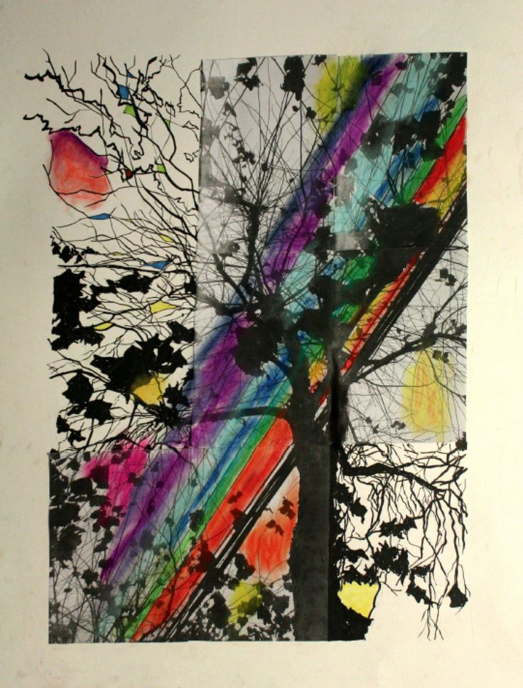 The tree that I took photograph and decorated with colors  Pastel, photograph, artwork, portfolio, pen drawing, mixed media