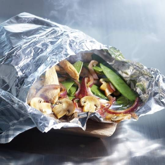 'Quickie bag' van kip met gestoomde groenten