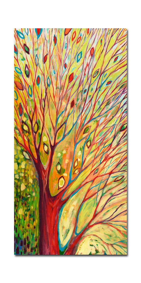 Large Modern ORIGINAL Abstract Painting Rainbow Tree by jenlo262, $750.00