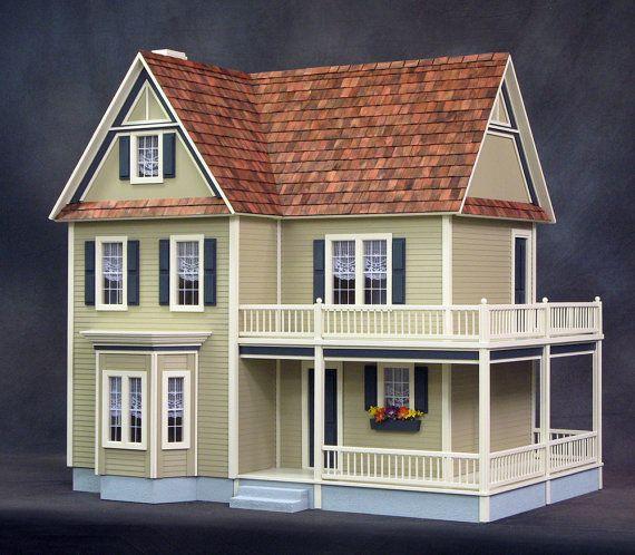 Lillian Wooden Dollhouse Kit with Turntable by miniaturerosegarden, $398.00