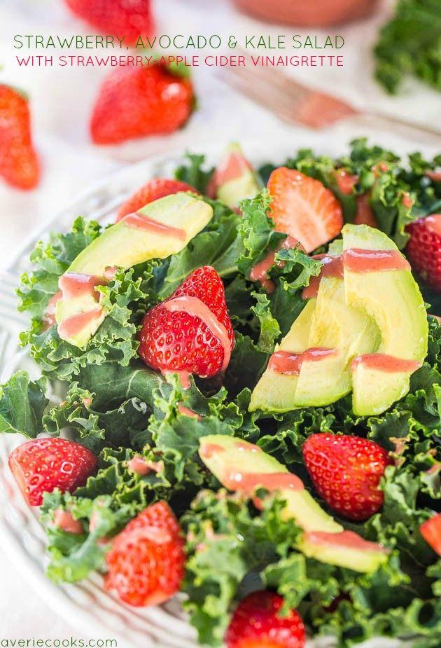 Strawberry, Avocado, and Kale Salad with Strawberry-Apple Cider Vinaigrette