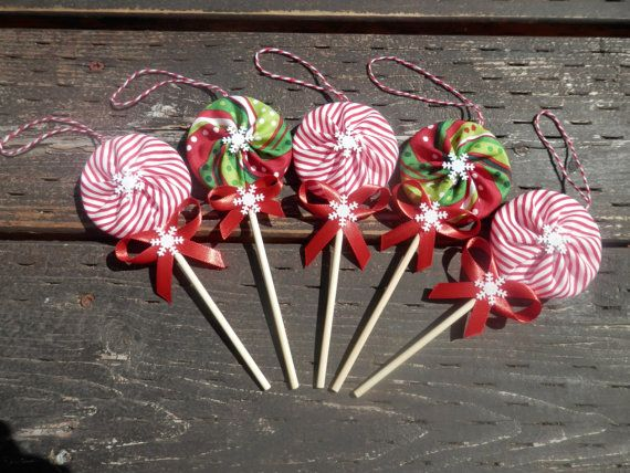 Yo yo lollipop handmade fabric Christmas by TheGiftofLovebyLili, $2.50