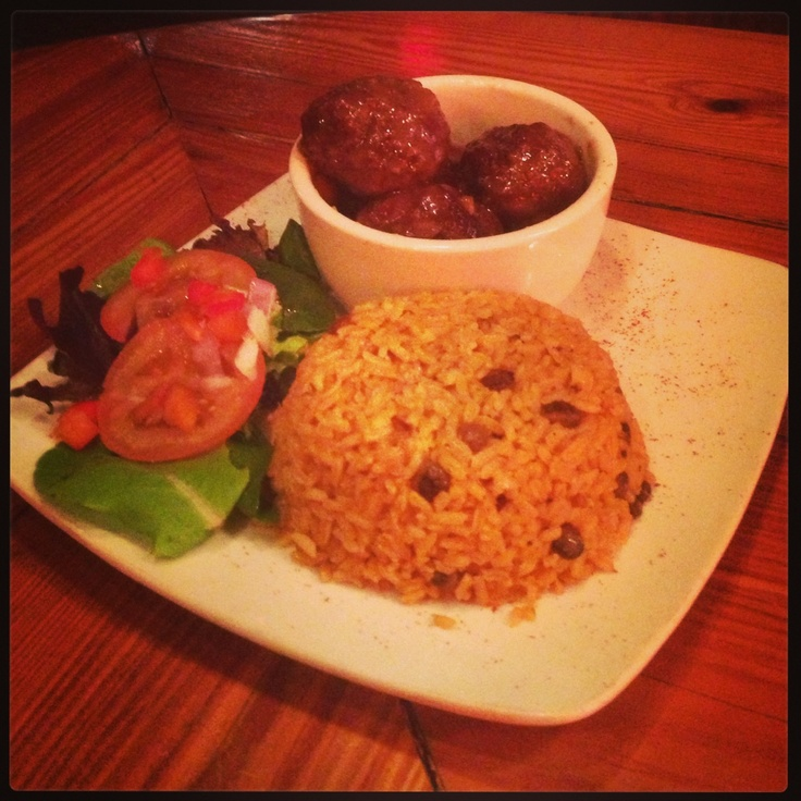 #Rice with #Meatballs in a New England Sweet & Sour Sauce