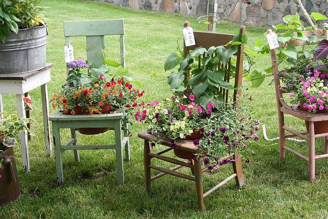 Easy to make.  Also, put chicken wire/spanish moss instead of a pot if there is no longer a seat on the chair