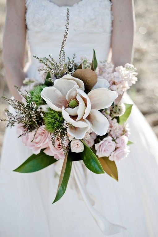 magnolia and rose bouquet - Check out navarragardens.com for info on a beautiful Oregon wedding destination!
