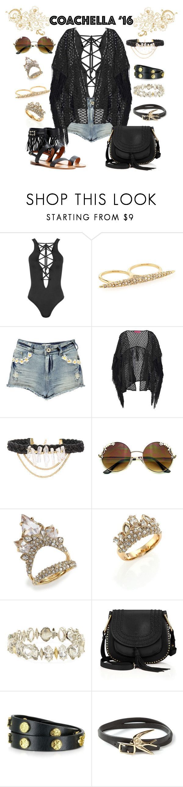Coachella 2016 #6 by hemmo1drauhl on Polyvore featuring moda, Boohoo, WearAll, Valentino, Chloé, Alexis Bittar, Tory Burch, McQ by Alexander McQueen, Ettika and black