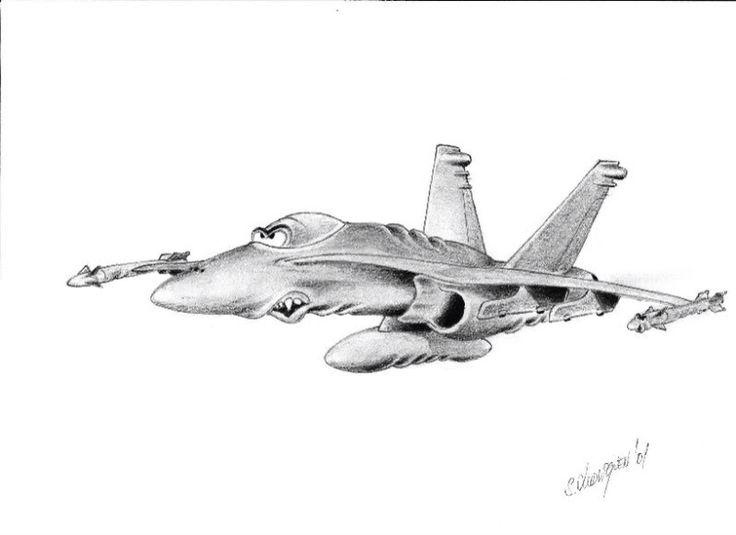 Fantacy F-18 pencil drawing