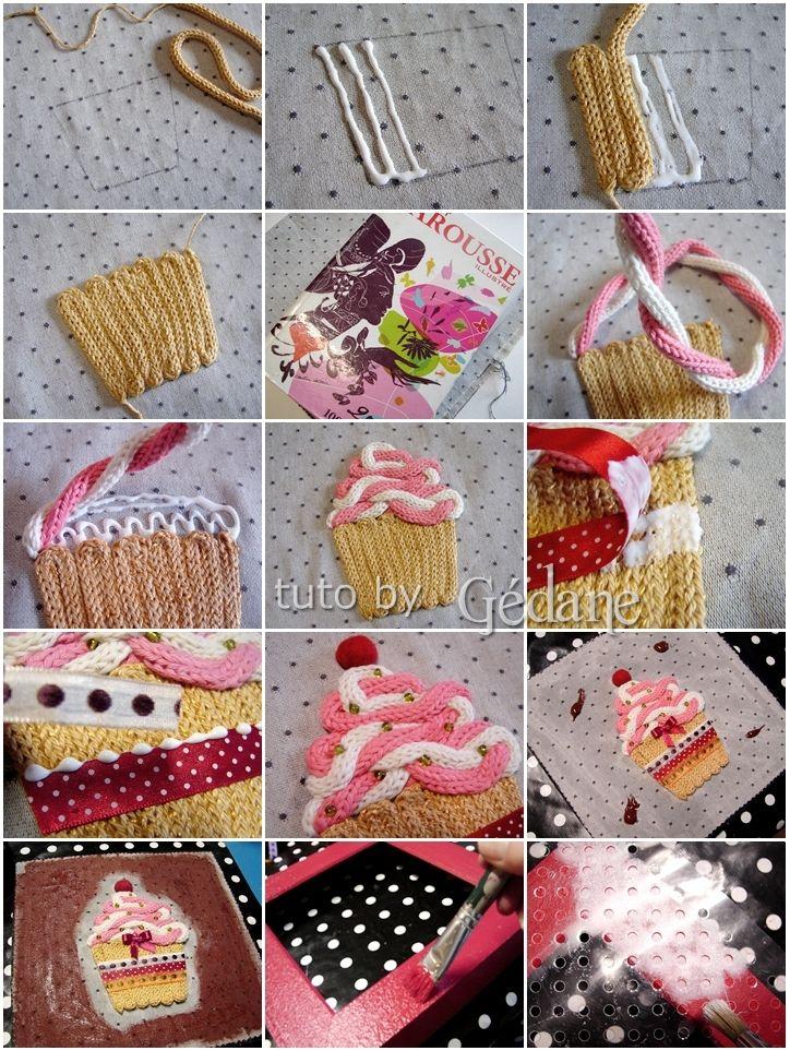 Le cupcake est collé sur du tissu mais tout autre support est possible les longueurs de tricot sont à déterminer suivant votre dessin L'article est à retrouver ICI. Une idée de livre ? Joustra - 46020 - Kit de Loisir Créatif - Tricotin et Pompons Bon...