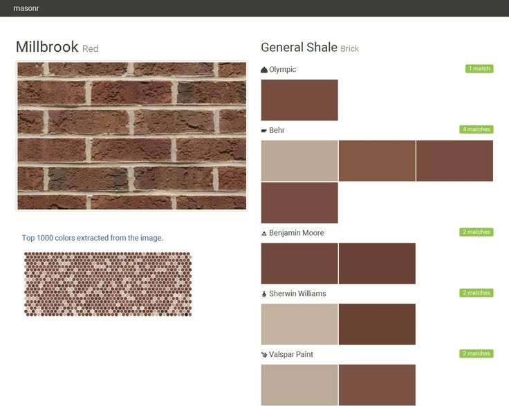 Millbrook red brick general shale olympic behr for Valspar com virtual painter