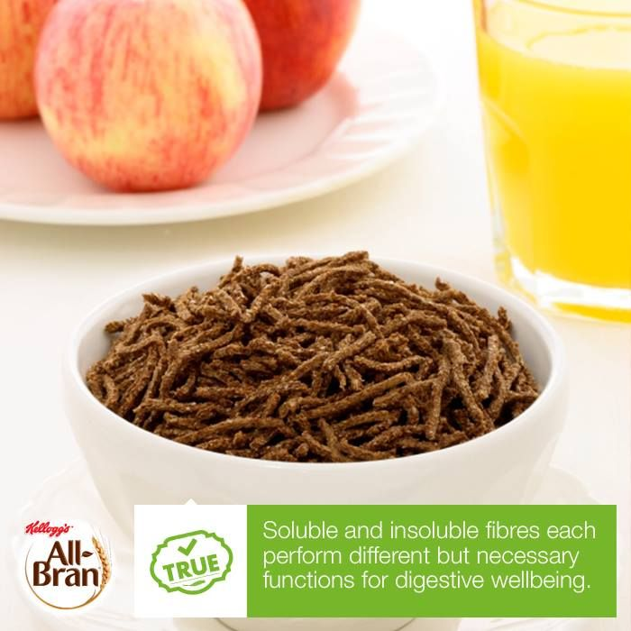 Soluble fibre works by absorbing water in the gut and binding to fatty acids to help lower LDL blood cholesterol, keep you feeling fuller for longer and maintaining blood glucose levels.   Insoluble fibre, like the #NaturalWheatBranFibre found in Kellogg's® All-Bran®, acts like a sponge, bulking up food to help it pass through the digestive system faster, promoting regularity and reducing symptoms of constipation.