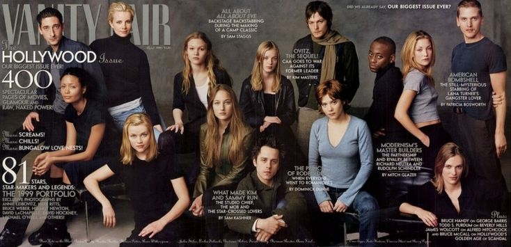 1999    From left: Adrien Brody, Thandie Newton, Monica Potter, Reese Witherspoon, Julia Stiles, Leelee Sobieski, Giovanni Ribisi, Sarah Polley, Norman Reedus, Anna Friel, Omar Epps, Kate Hudson, Vinessa Shaw, and Barry Pepper. by Annie Leibovitz
