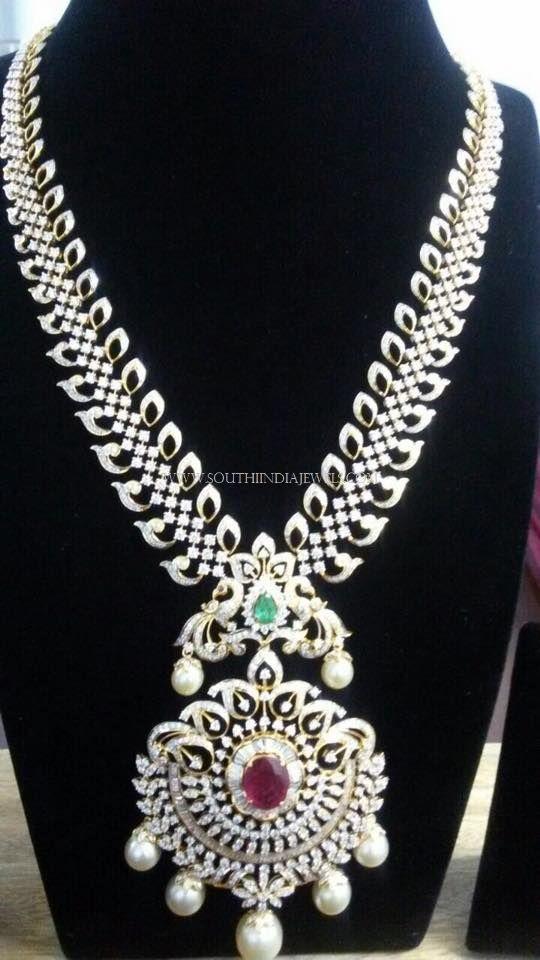 Medium Length Diamond Haram Designs, Medium Length Diamond Long Necklace Collections.
